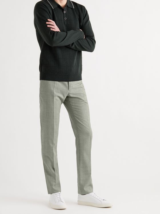 INCOTEX Slim-Fit Puppytooth Wool Trousers