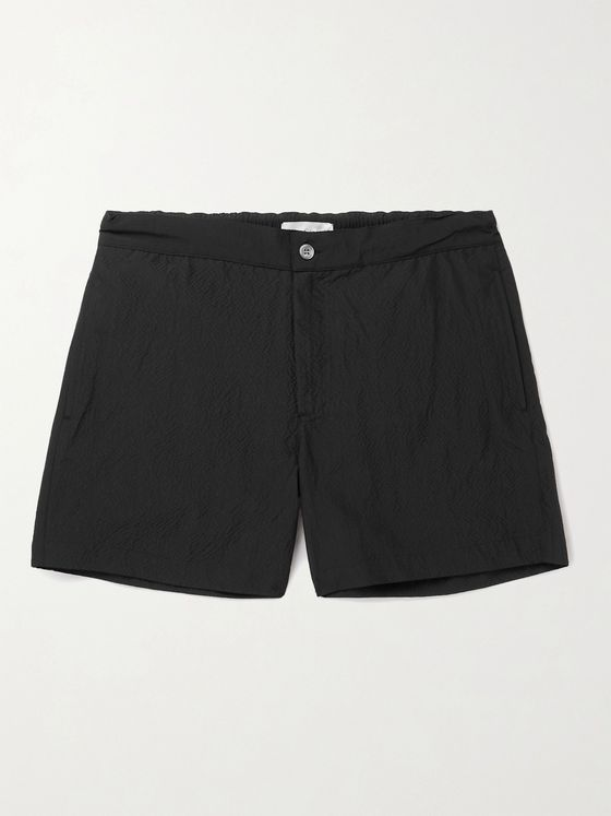 OFFICINE GÉNÉRALE Roman Short-Length Seersucker Swim Shorts