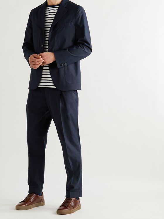 OFFICINE GÉNÉRALE Hugo Tapered Belted Organic Cotton Suit Trousers