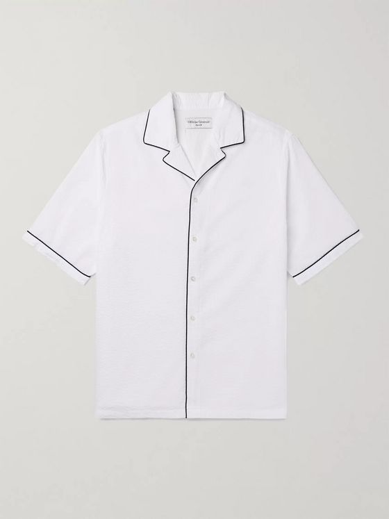 OFFICINE GÉNÉRALE Eren Camp-Collar Piped Cotton-Seersucker Shirt