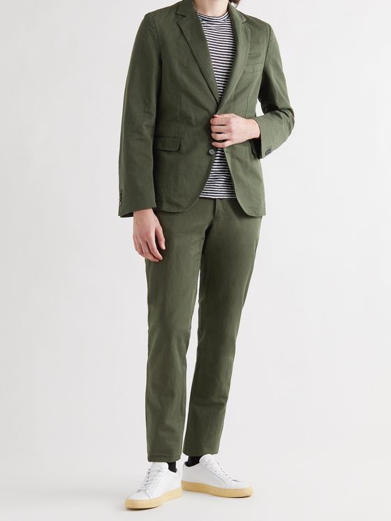 OFFICINE GÉNÉRALE Paul Slim-Fit Belted Garment-Dyed Cotton and Linen-Blend Suit Trousers
