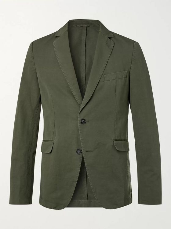 OFFICINE GÉNÉRALE Slim-Fit Unstructured Garment-Dyed Cotton and Linen-Blend Suit Jacket