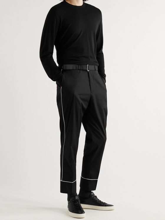 OFFICINE GÉNÉRALE Lucio Piped Cotton-Poplin Trousers