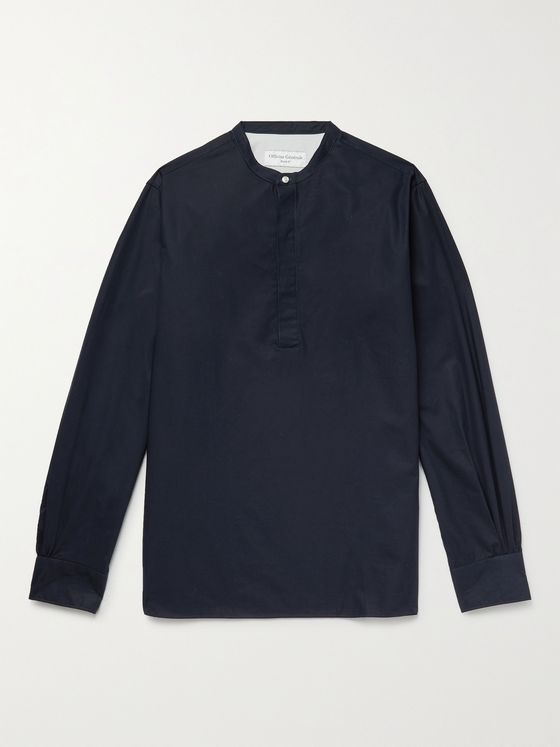 OFFICINE GÉNÉRALE Alfred Grandad-Collar Organic Cotton-Poplin Shirt