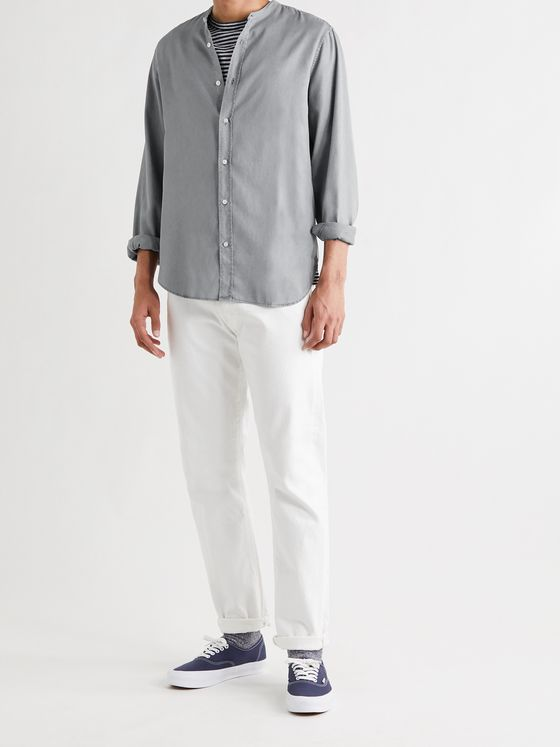OFFICINE GÉNÉRALE Gaspard Grandad-Collar Garment-Dyed Tencel Shirt