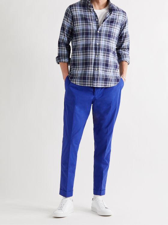 OFFICINE GÉNÉRALE Phil Tapered Cropped Organic Cotton Drawstring Trousers