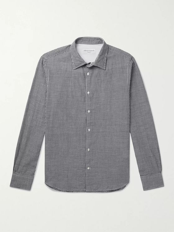 OFFICINE GÉNÉRALE Giacomo Gingham Cotton and Linen-Blend Shirt