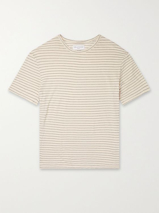 OFFICINE GÉNÉRALE Striped Cotton and Linen-Blend Jersey T-Shirt