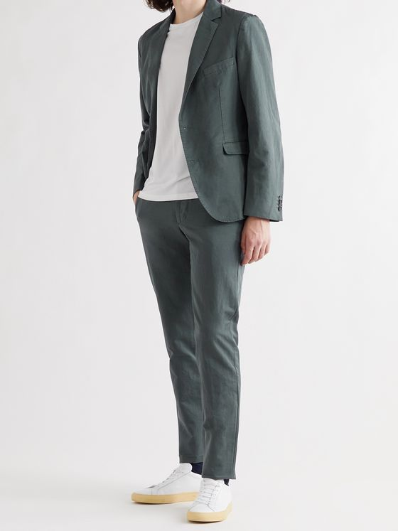OFFICINE GÉNÉRALE Slim-Fit Belted Cotton and Linen-Blend Suit Trousers