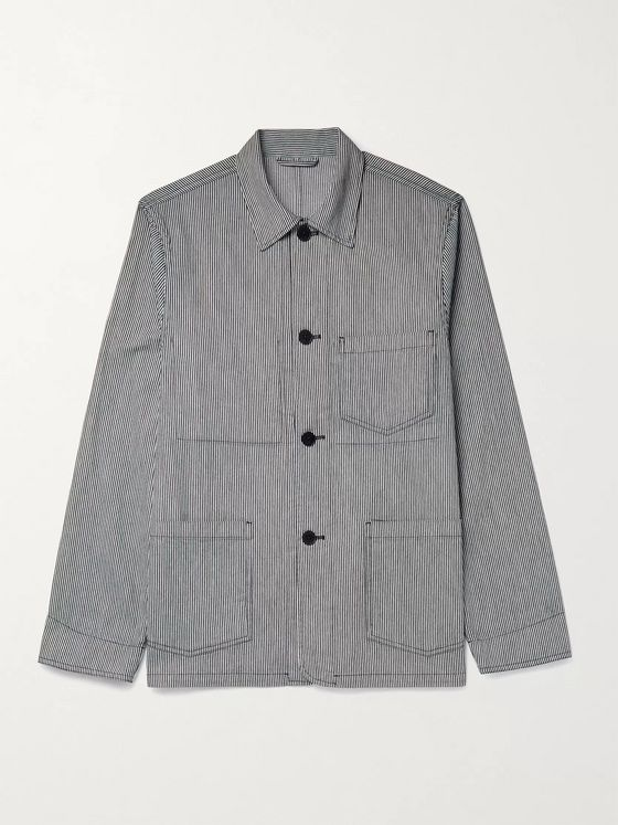 OFFICINE GÉNÉRALE Pinstriped Cotton Jacket