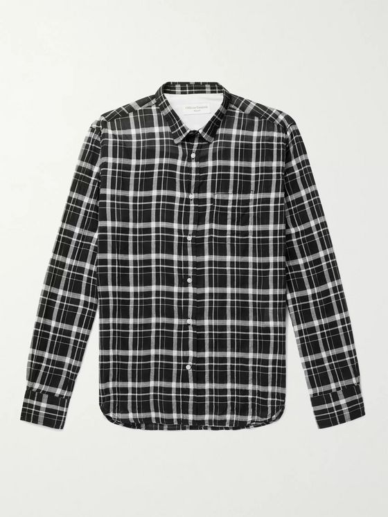 OFFICINE GÉNÉRALE Lipp Slim-Fit Checked Crinkled Cotton-Blend Shirt