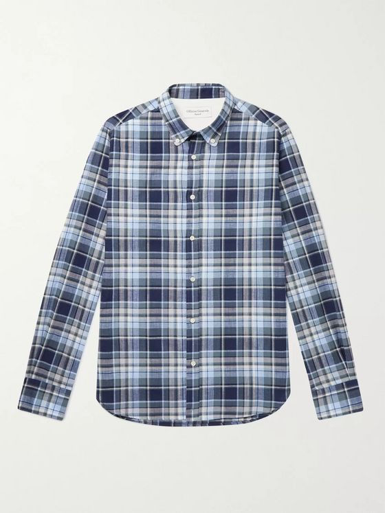 OFFICINE GÉNÉRALE Antime Button-Down Collar Checked Cotton-Chambray Shirt