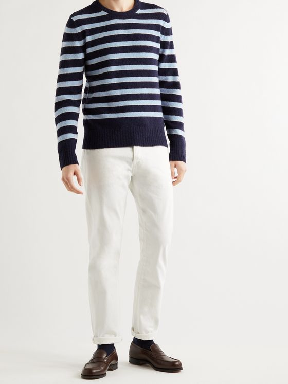OFFICINE GÉNÉRALE Marco Striped Virgin Wool-Blend Sweater