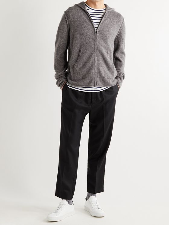 JAMES PERSE Mélange Cashmere Zip-Up Hoodie