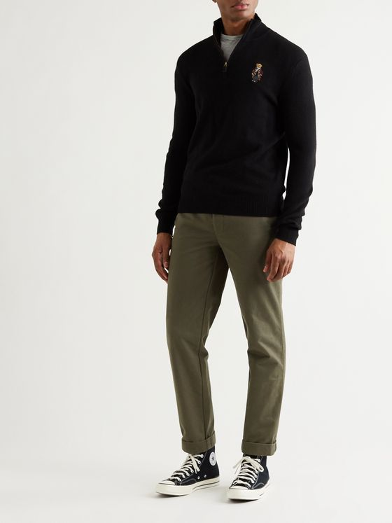 POLO RALPH LAUREN Appliquéd Wool and Cashmere-Blend Half-Zip Sweater