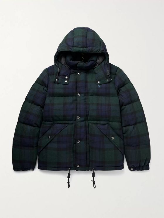 POLO RALPH LAUREN Black Watch Boulder Checked Quilted Wool-Blend Flannel Down Hooded  Jacket
