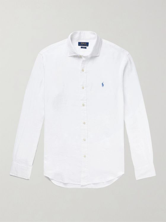 POLO RALPH LAUREN Slim-Fit Logo-Embroidered Linen Shirt