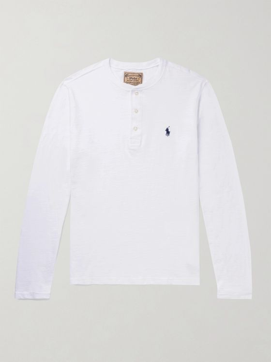 POLO RALPH LAUREN Logo-Embroidered Slub Cotton-Jersey Henley T-Shirt