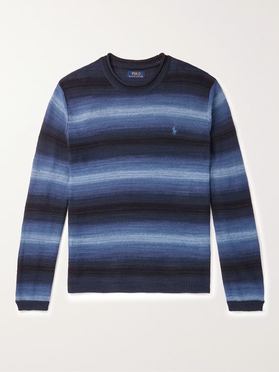 POLO RALPH LAUREN Logo-Embroidered Striped Cotton and Linen-Blend Sweater