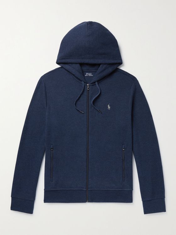 POLO RALPH LAUREN Logo-Embroidered Cotton-Blend Jersey Zip-Up Hoodie