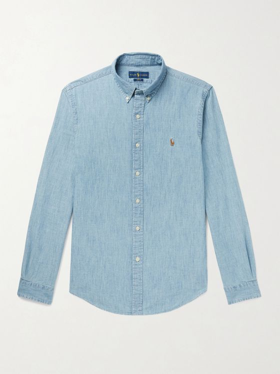 POLO RALPH LAUREN Slim-Fit Button-Down Collar Cotton-Chambray Shirt