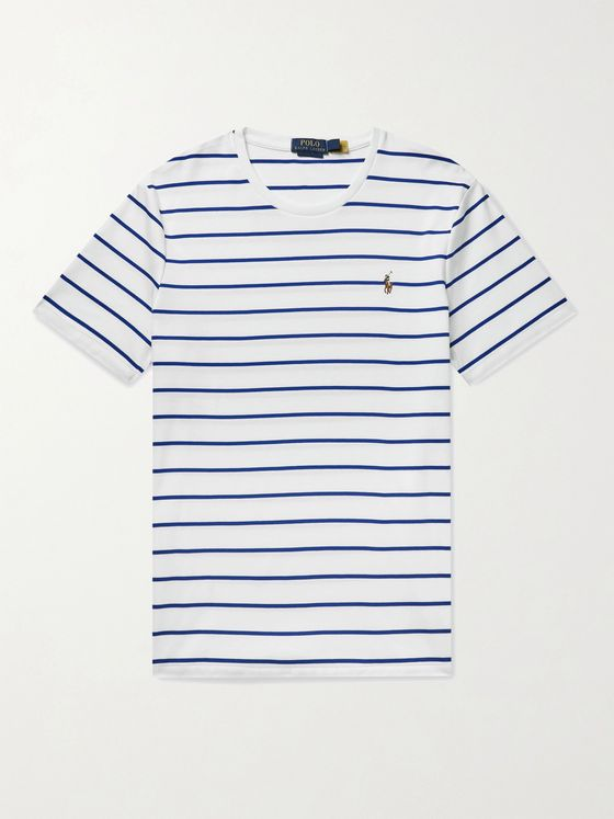POLO RALPH LAUREN Logo-Embroidered Striped Interlock Cotton T-Shirt