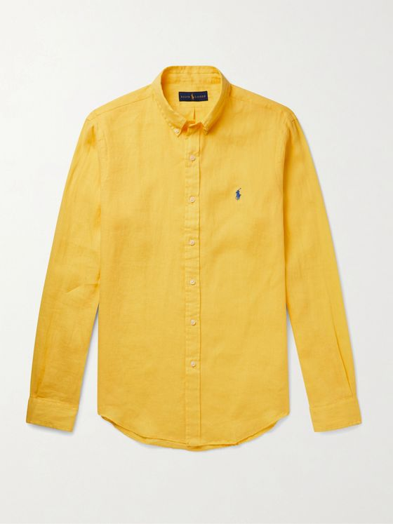 POLO RALPH LAUREN Slim-Fit Button-Down Collar Logo-Embroidered Linen Shirt