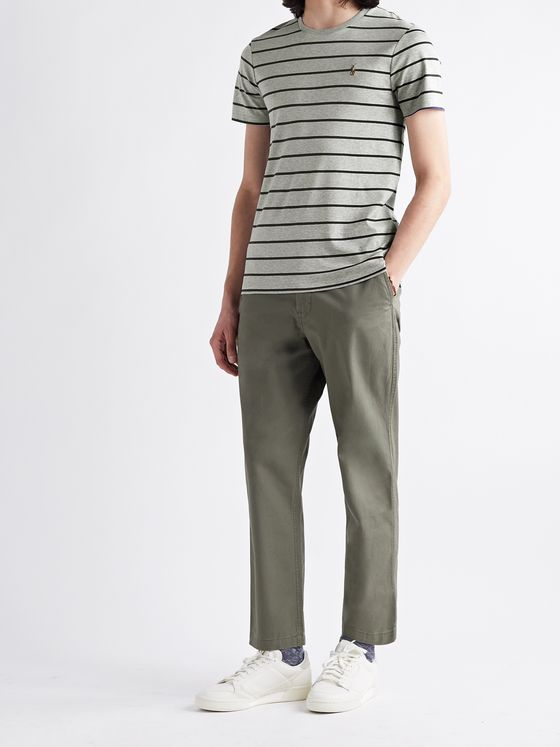 POLO RALPH LAUREN Slim-Fit Logo-Embroidered Striped Melangé Interlock Cotton T-Shirt
