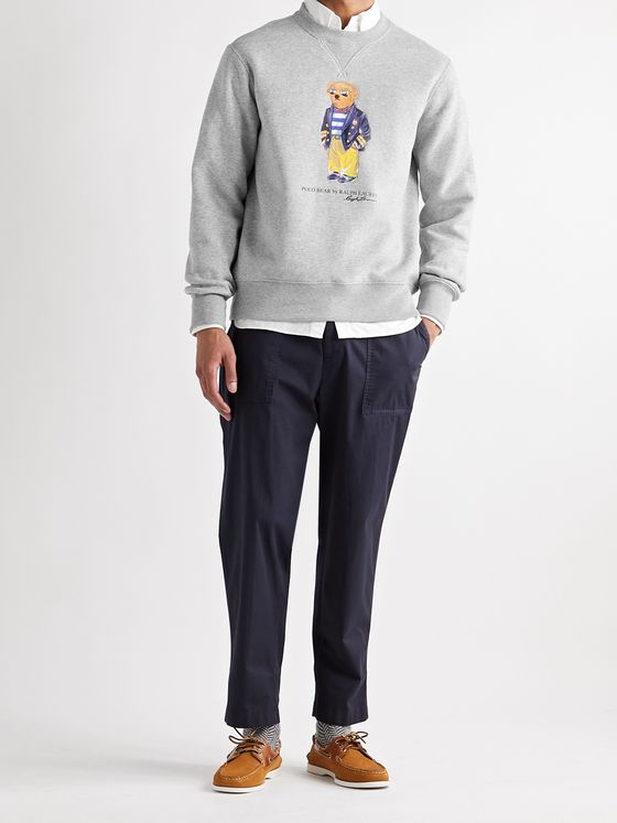POLO RALPH LAUREN Logo-Print Fleece-Back Cotton-Blend Jersey Sweatshirt