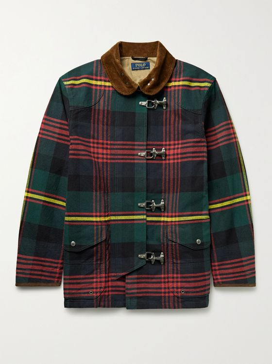 POLO RALPH LAUREN Corduroy-Trimmed Checked Cotton-Canvas Jacket