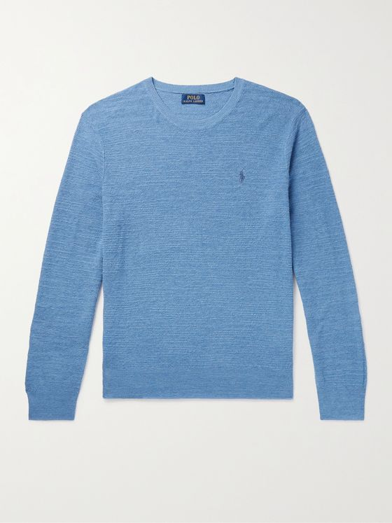 POLO RALPH LAUREN Logo-Embroidered Cotton and Linen-Blend Sweater