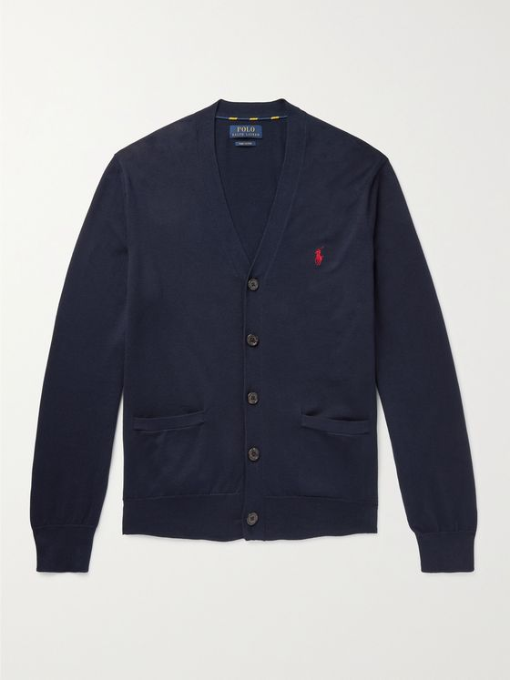 POLO RALPH LAUREN Logo-Embroidered Pima Cotton Cardigan