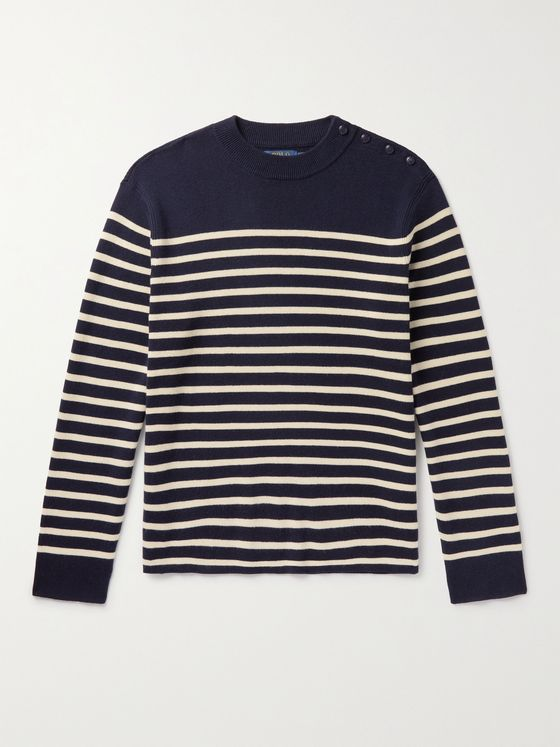 POLO RALPH LAUREN Striped Cotton and Cashmere-Blend Sweater