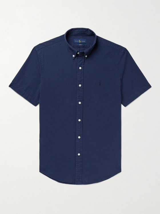 POLO RALPH LAUREN Slim-Fit Button-Down Collar Cotton-Seersucker Shirt