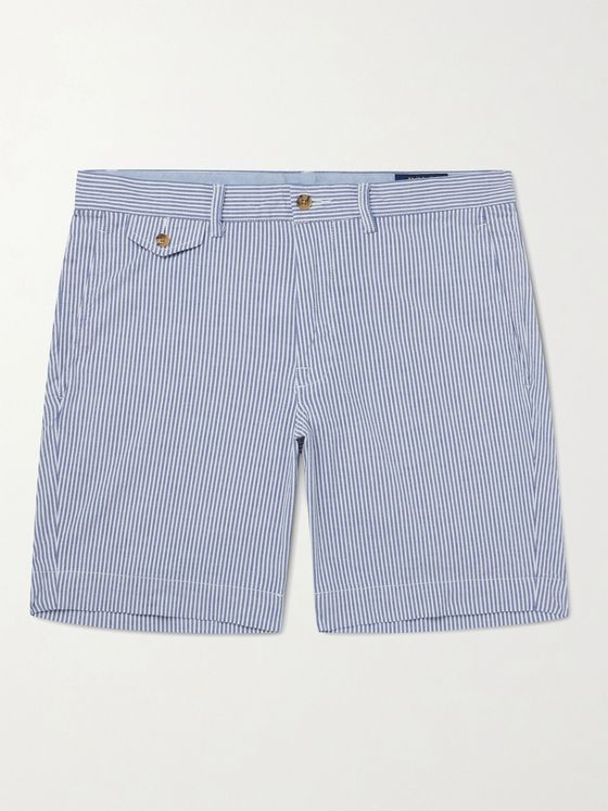 POLO RALPH LAUREN Logo-Embroidered Striped Cotton-Blend Seersucker Shorts