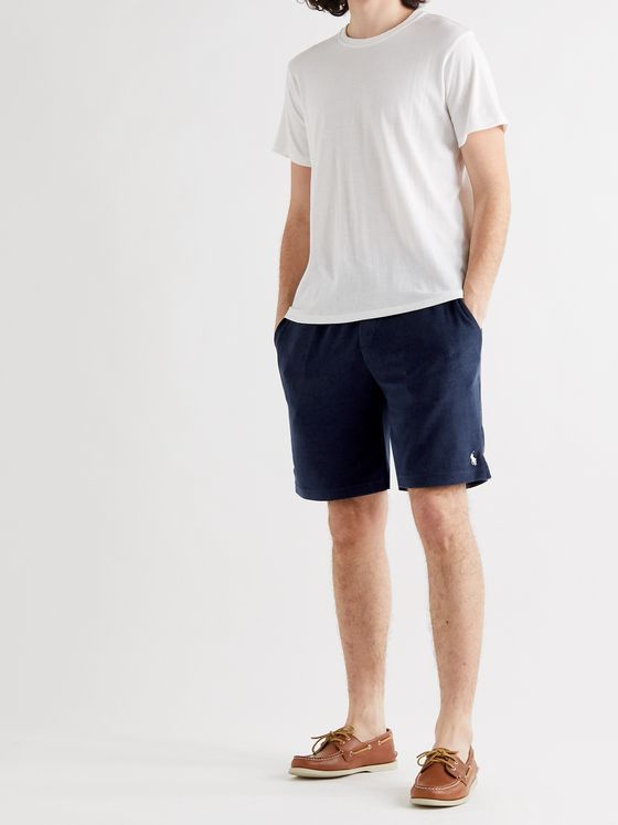 POLO RALPH LAUREN Logo-Embroidered Cotton-Terry Drawstring Shorts