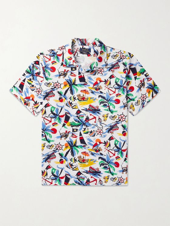 POLO RALPH LAUREN Camp-Collar Printed Cotton Oxford Shirt