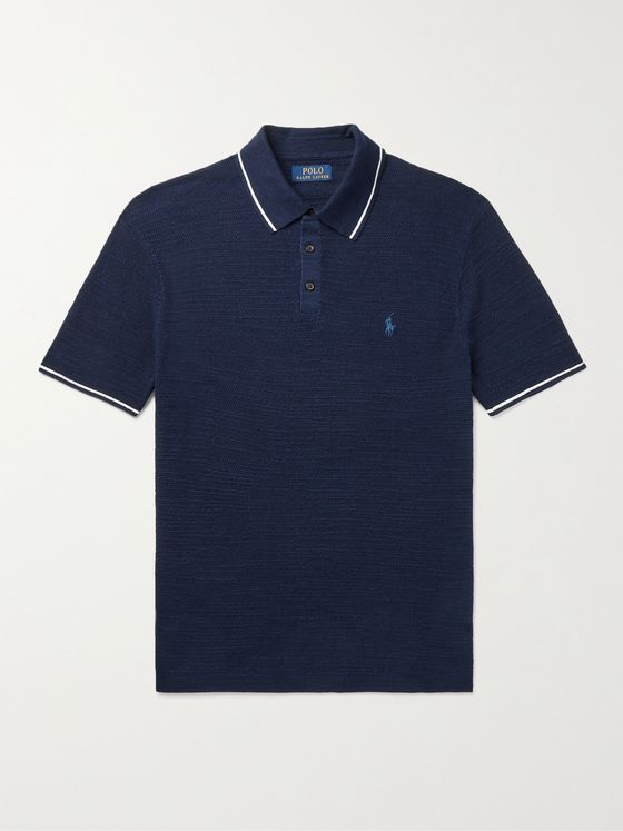POLO RALPH LAUREN Slim-Fit Logo-Embroidered Cotton and Linen-Blend Polo Shirt