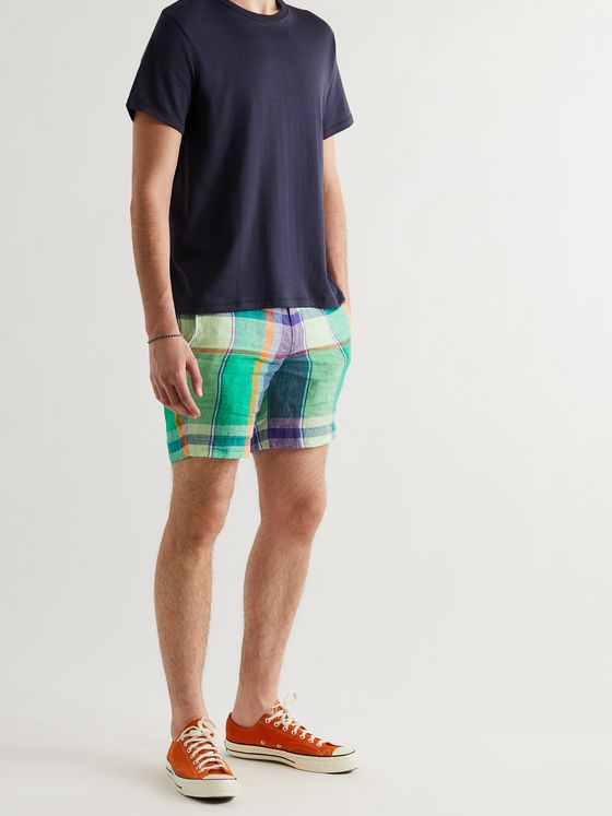 POLO RALPH LAUREN Slim-Fit Checked Linen Chino Shorts