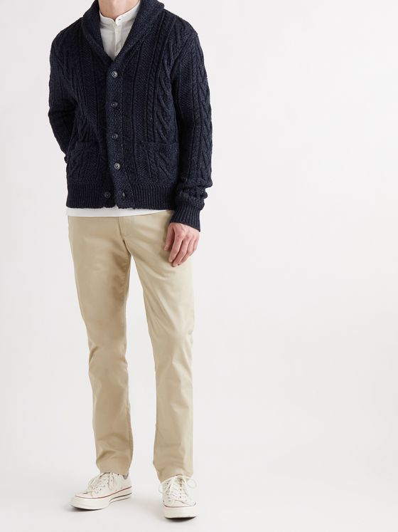 POLO RALPH LAUREN Shawl-Collar Cable-Knit Cotton-Blend Cardigan