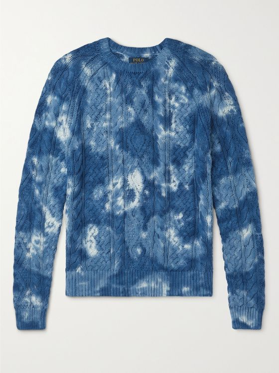 POLO RALPH LAUREN Tie-Dyed Cable-Knit Cotton Sweater
