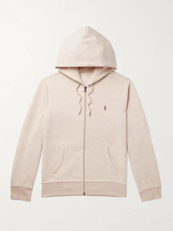 POLO RALPH LAUREN Logo-Embroidered Mélange Jersey Hoodie