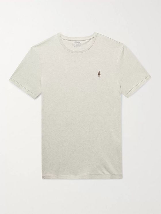 POLO RALPH LAUREN Slim-Fit Logo-Embroidered Mélange Cotton-Jersey T-Shirt
