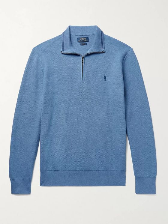 POLO RALPH LAUREN Logo-Embroidered Waffle-Knit Pima Cotton Half-Zip Sweater