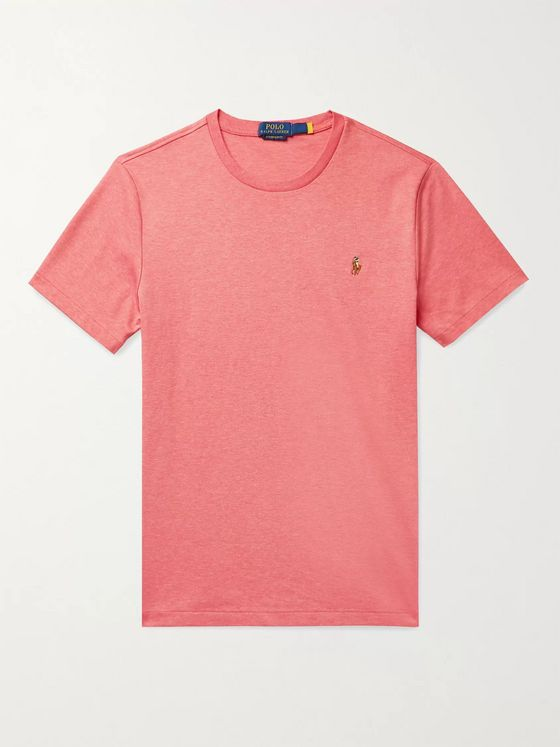 POLO RALPH LAUREN Slim-Fit Logo-Embroidered Mélange Interlock Cotton T-Shirt
