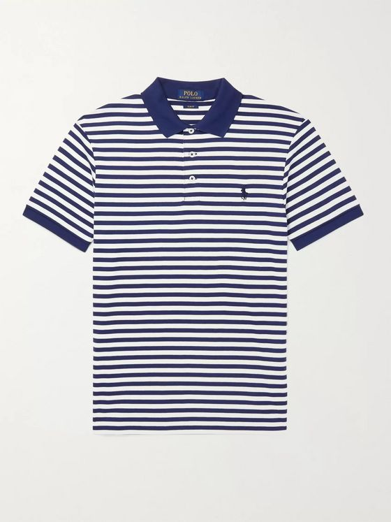 POLO RALPH LAUREN Slim-Fit Logo-Embroidered Striped Cotton-Jersey Polo Shirt