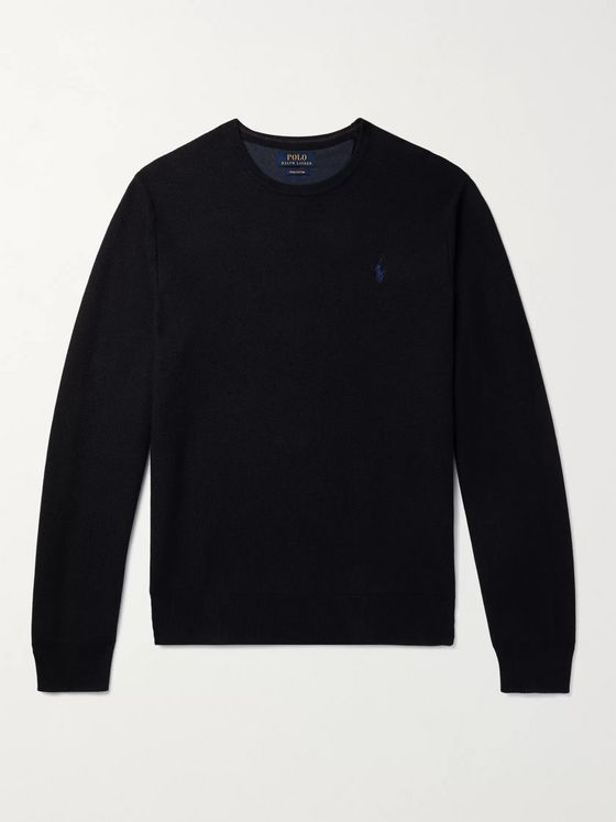 POLO RALPH LAUREN Logo-Embroidered Honeycomb-Knit Cotton Sweater