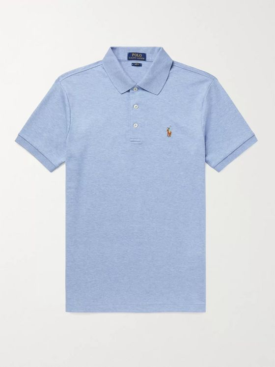 POLO RALPH LAUREN Slim-Fit Logo-Embroidered Mélange Cotton Polo Shirt