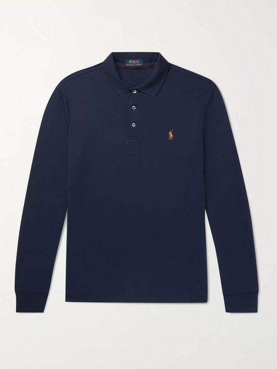 POLO RALPH LAUREN Slim-Fit Logo-Embroidered Cotton-Jersey Polo Shirt