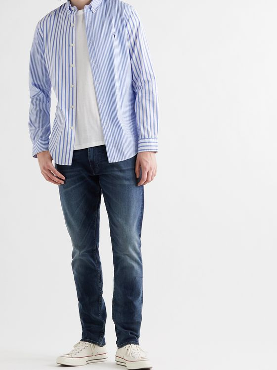 POLO RALPH LAUREN Button-Down Collar Striped Cotton-Poplin Shirt